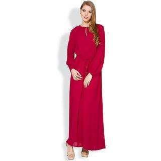 Folklore Maroon Printed A Line Dress For Women