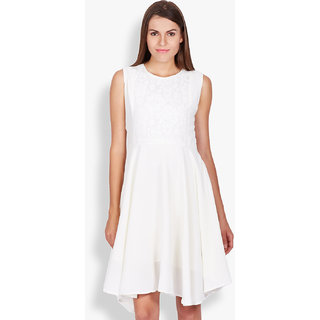 Tokyo Talkies White Plain A Line Dress For Women