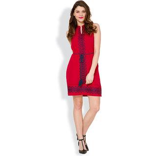 Tokyo Talkies Red Plain A Line Dress For Women