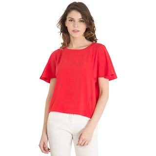 Tokyo Talkies Red Polyester Printed Round Neck Top