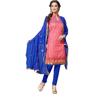 Surat Tex Pink Color Party Wear Embroidered Chanderi Cotton Un-Stitched Dress Material-H637DLC1128CN