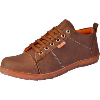 Fausto MenS Tan Sneakers Lace-Up Shoes (FST 3019 TAN)