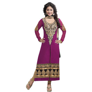 Surat Tex Magenta Color Party Wear Embroidered Cotton Un-Stitched Dress Material-H430DL105NA