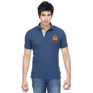 Blue Half Sleeves Cotton Men T-shirt