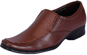Fausto MenS Brown Formal Slip On Shoes (FST 1028 BROWN)