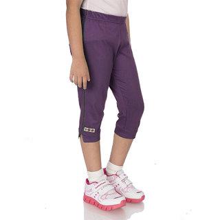 OCEAN RACE -Girls Stylish Grape Cotton Capri-3/4 Th pant
