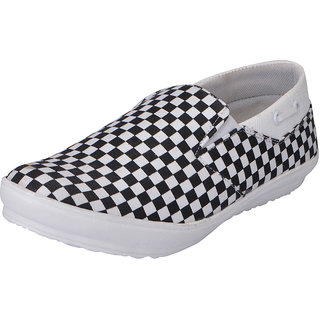 Fausto MenS Black,White Casual Loafers (FST 1035 BLACK WHITE)