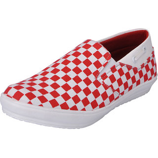 Fausto MenS Red,White Casual Loafers (FST 1035 RED WHITE)