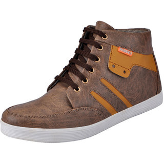 Fausto MenS Brown Sneakers Lace-Up Shoes (FST 3033 BROWN)
