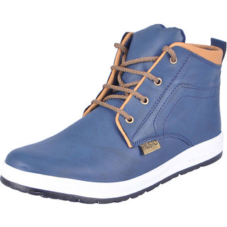 Fausto MenS Blue Sneakers Lace-Up Shoes (FST 6010 BLUE)