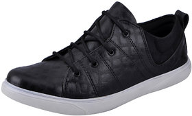 Fausto MenS Black Sneakers Lace-Up Shoes (FST K6050 BLACK)