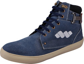 Fausto MenS Blue Sneakers Lace-Up Shoes (FST K6051 BLUE)