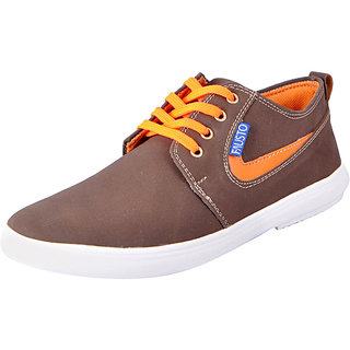 Fausto MenS Brown Sneakers Lace-Up Shoes (FST 6019 BROWN)