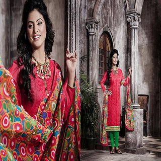 RapidDukan Un-Stitched Red Color Straight Salwar Suit Dupatta Material SF584