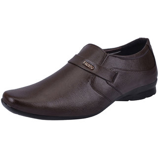 Fausto MenS Brown Formal Slip On Shoes (FST 1672 BROWN)
