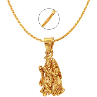 Mahi Gold Plated Gold Alloy  Brass  Copper Pendant With Chain Only for Women