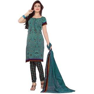 Triveni Charming Green Color Casual Wear Indian Traditional Salwar Kameez (Unstitched)