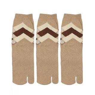 Gumber Pack of 3 Pairs of Beige Solid Quarter Length Socks