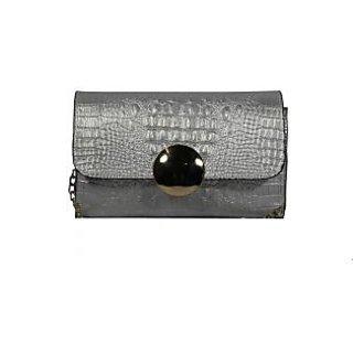 BagsHub Silver Croc Embossed Sling-cum-Clutch Bag