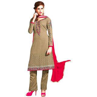 Surat Tex Beige Color Party Wear Embroidered Georgatte Un-Stitched Salwar Suit-H385DLAZ1002FA