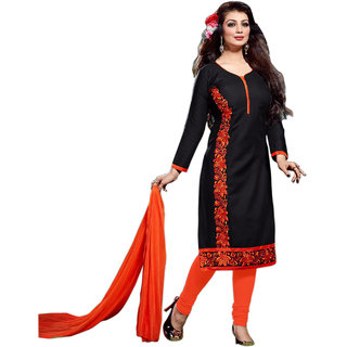 Surat Tex Black  Orange Color Party Wear Embroidered Cotton Un-Stitched Salwar Suit-H261DL2103AA