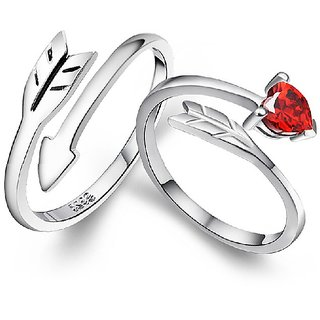 RM Jewellers CZ 92.5 Sterling Silver American Diamond Stylish Lovely Couple Rings For Men and Women