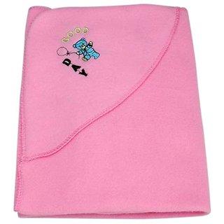 Garg Good Day Teddy Polar Fleece Hooded Pink Baby Blanket