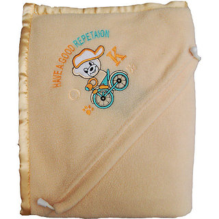 Garg Antipilling Double Layer Hooded Peach Baby Blanket