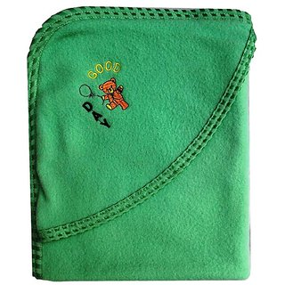 Garg Good Day Sea Green Hood And Lace Border Lining Baby Blanket