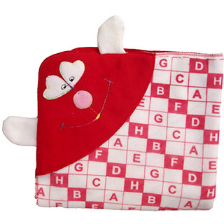 Garg Alphabetical Attractive Hood And Ears Red Baby Blanket