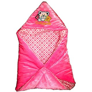 Garg Teddy Family Hooded Shearing Velvet Pink Baby Blanket