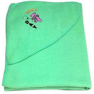 Garg Good Day Teddy Polar Fleece Hooded Sea Green Baby Blanket