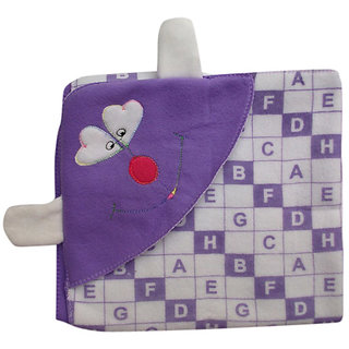 Garg Alphabetical Purple Attractive Hood And Ears Baby Blanket