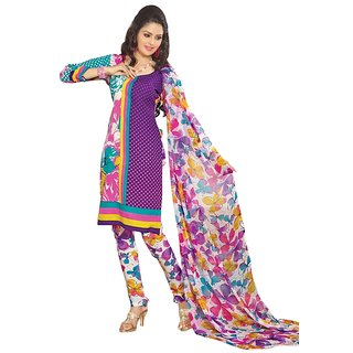 Triveni Pleasing Synthetic Cotton Purple Color Indian Ethnic Salwar Kameez (Unstitched)