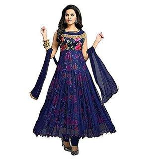 Womens Net Anarkali Suit Dress Material Blue Colour