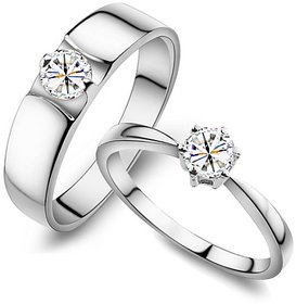 RM Jewellers CZ 92.5 Sterling Silver American Diamond Lovely Classic Couple Rings For Men and Women