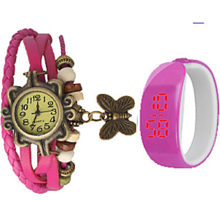 Party  bangals  Analog-Digital watch Combo  For Girls Women (Pink)