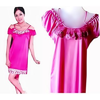 DESIGNER HONEYMOON NIGHTWEAR 2 PIECE IN SATIN AND NET - PINK