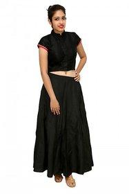 Peepal Black Self Design High Neck Crop Tops For Women