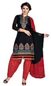 Golden girl black red colour chanderi cottan unstiched dress material