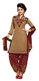 Golden girl khaki  maroon color unstiched dress material