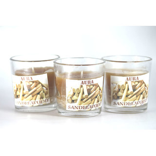 AuraDecor Buy 1 Get 1 Set of Three Fragrance Glass Candle ( Sandal Wood)