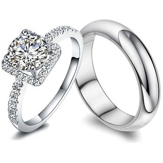RM Jewellers CZ 92.5 Sterling Silver American Diamond Life Style Couple Band For Men and Women