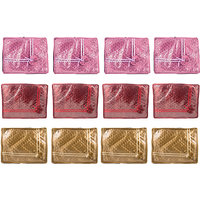 Annapurna Sales Golden/Purple And Maroon Satin Small Sa - 92552443