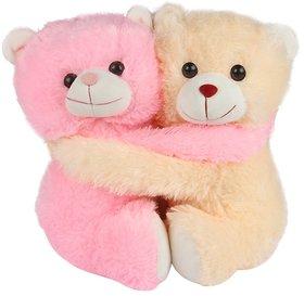 Deals India Beige & Pink Cuddling Couple Teddy Bear Soft Toy - 25 cm