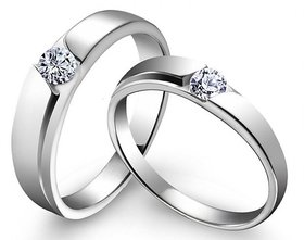 RM Jewellers CZ 92.5 Sterling Silver American Diamond Lovely Stylish Couple Band For Men and Women