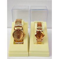 Pair Watches Gold Round Dial Gold Strap Couple Watches For Men  Women