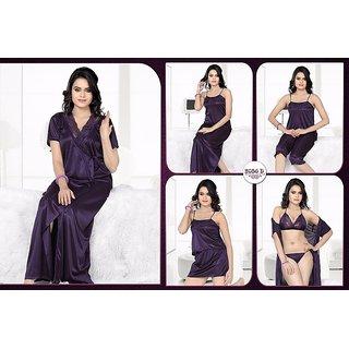f88ad7429a Womens Sleep Wear 6pc Bra Panty Top Capri Nighty Overcoat Daily Dark Wine Night  dress 2056D