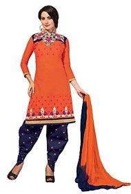 Golden girl Orange blue color cottan unstiched dress material
