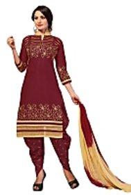 Golden girl maroon color cottan unstiched dress material